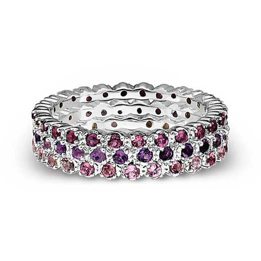 Sterling Silver Stackable Eternity of Color Gemstone Ring Set