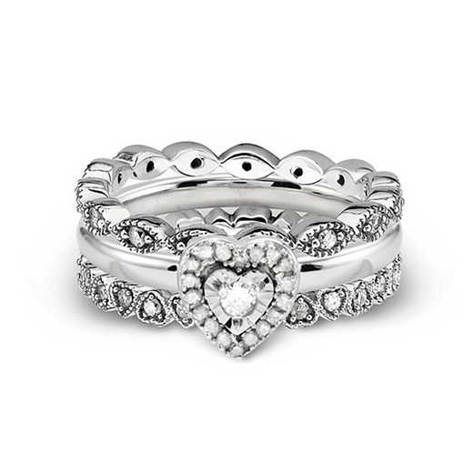Sterling Silver Stackable Girl's Best Friend 1/2 CTTW Diamond Ring Set