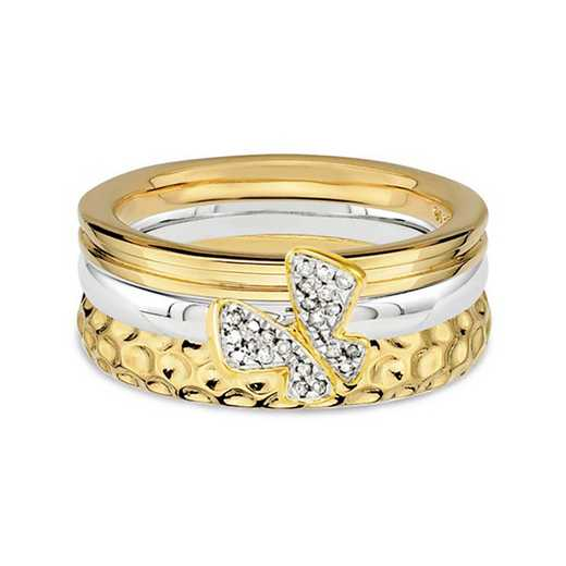 Sterling Silver Stackable Diamond Accent Gold Tone Ring Set