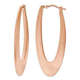 J290746171000: Sterling Silver 2 in Elongated satin Hoops Rose gold plating