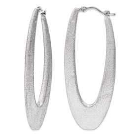 J290746180000: Sterling Silver 2 in Elongated satin Hoops Rhodium plating