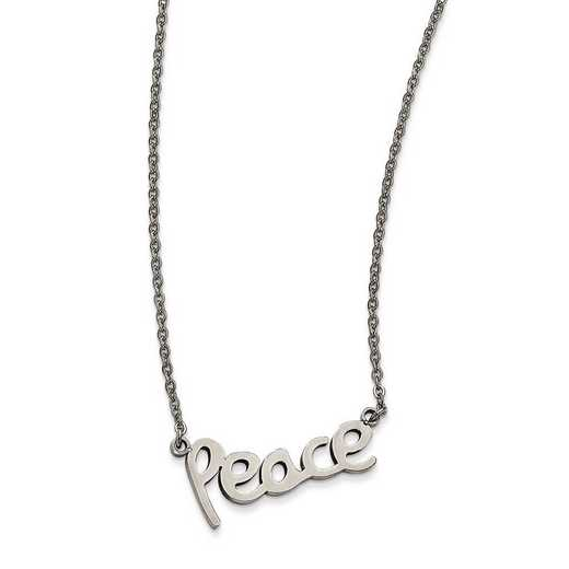 SRN1866-18: Stainless Steel Polished PEACE Necklace