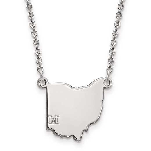 SS031MU-18: SS LogoArt Miami University Small State PEND w/ Necklace