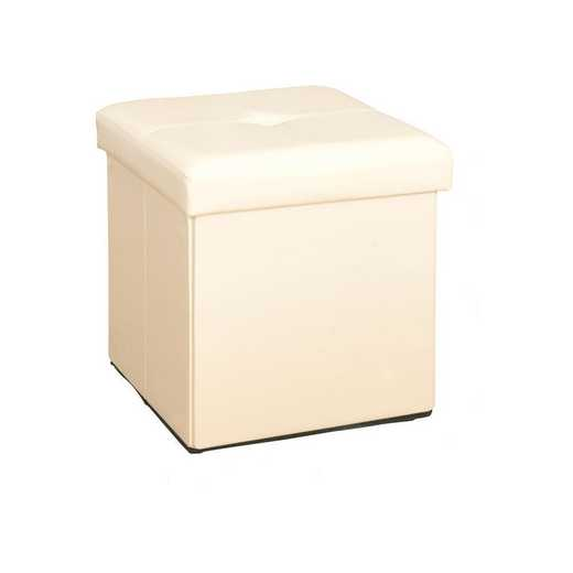 F-0625-IVO: Faux Leather Storage Ottoman-Ivory