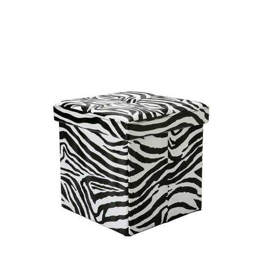 F-0627-ZEBRA: Faux Leather Storage Ottoman-Zebra