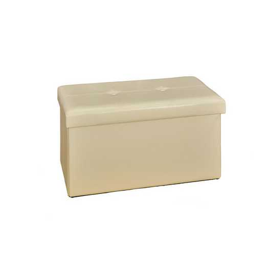 F-0630-IVO: Faux Leather Double Storage Ottoman-Ivory