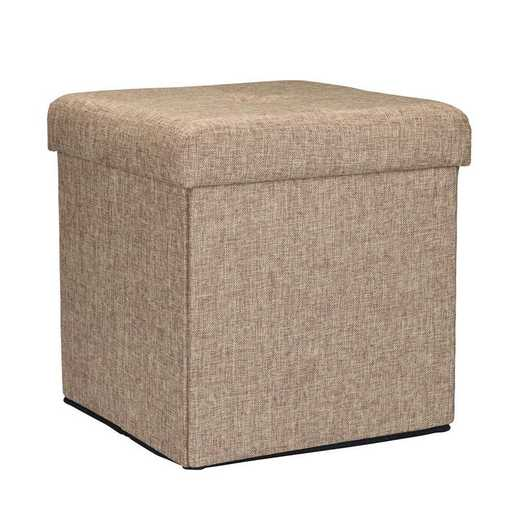 F-0636-NATURAL: Faux Linen Storage Ottoman-Natural