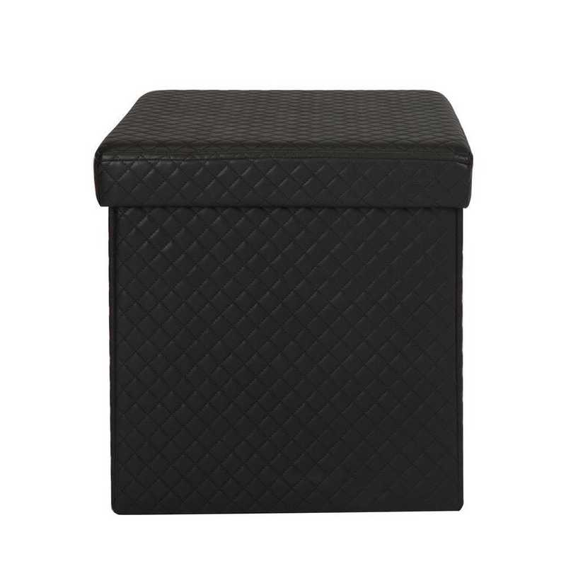 Simplify Quilted Storage Ottoman In Black