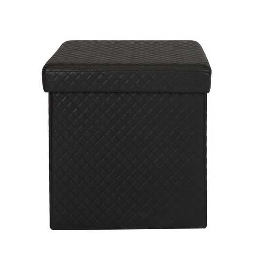 F-0670-BLACK: Simplify Quilted Storage Ottoman-Black