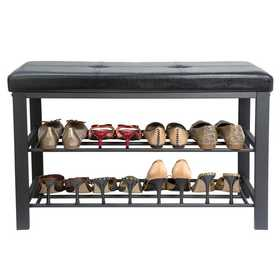 F-0680-BLACK: Entryway Bench with Shoe Storage-Black