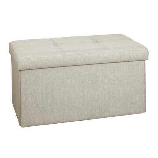 F-0911-IVORY: Faux Linen Double Folding Storage Ottoman-Ivory