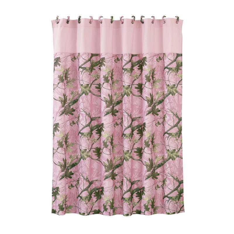 CM1002SC HEA Pink Oak Camo Shower Curtain
