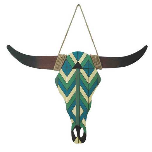 WD2209: HEA Turquoise and white wooden scull wall hanging
