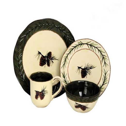 DI1800: HEA 16 PC Pine Cone Dinnerware Set