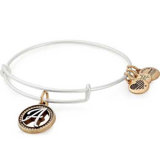 A18EBINT01TTRS: Initial A Two Tone Charm Bangle
