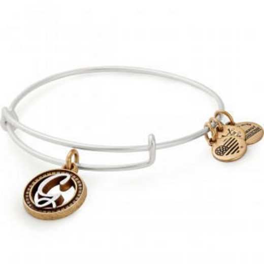 A18EBINT07TTRS: Initial G Two Tone Charm Bangle