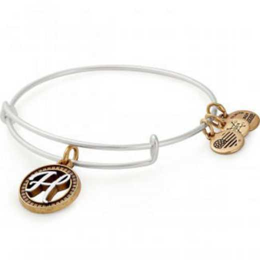 A18EBINT08TTRS: Initial H Two Tone Charm Bangle