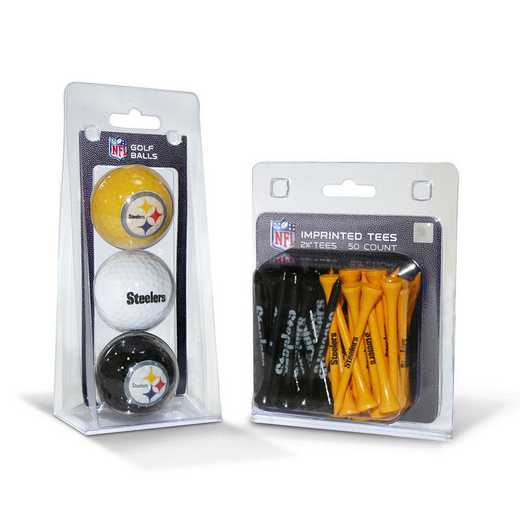 32499: 3 Golf Balls And 50 Golf Tees Pittsburgh Steelers