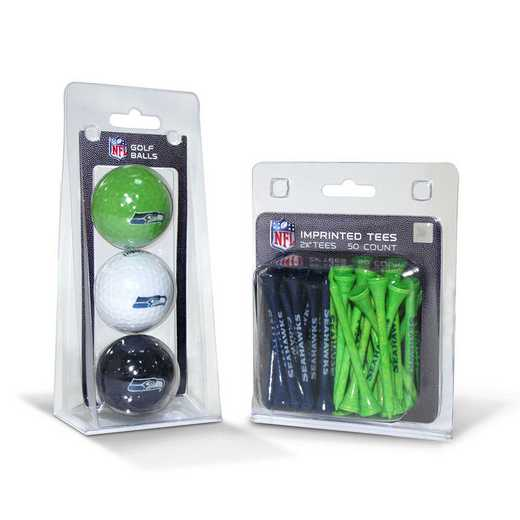 32899: 3 Golf Balls And 50 Golf Tees Seattle Seahawks