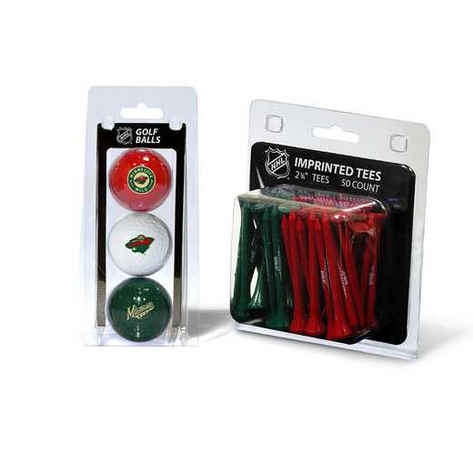 14399: 3 Golf Balls And 50 Golf Tees Minnesota Wild