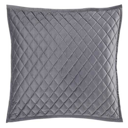 FB6300PS-KS-GR: HEA Quilted Velvet King Pillow Sham - Gray