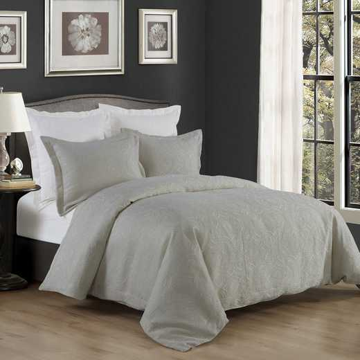 FB1755-SQ-GY: HEA 3 PC Matelasse Coverlet - Super Queen Gray