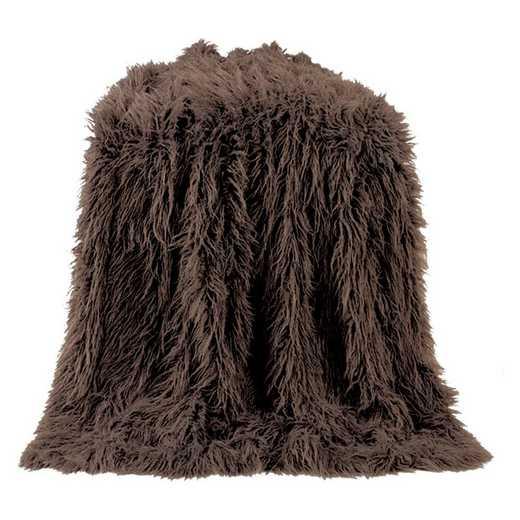TR5003-OS-CH: HEA Mangolian Faux Fur Throw, 50X60 Chocolate