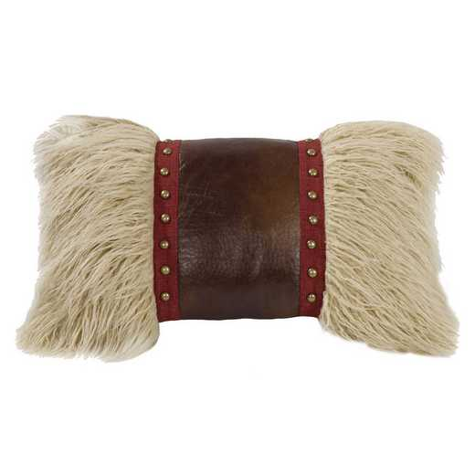 WS4066P8: HEA Mongolian fur pillow w/faux leather & stud