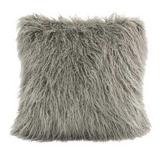 PL5003-OS-GY: HEA Mangolian Faux Fur Pillow, 18x18 Grey