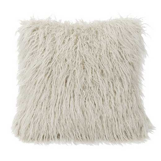 PL5003-OS-WH: HEA Mangolian Faux Fur Pillow - 18x18 White
