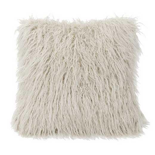 PL5003-OS-WH: HEA Mangolian Faux Fur Pillow, 18x18 White