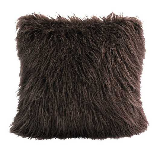 PL5003-OS-CH: HEA Mangolian Faux Fur Pillow, 18x18 Chocolate