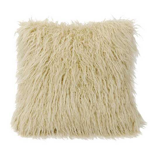 PL5003-OS-CR: HEA Mangolian Faux Fur Pillow, 18x18 Cream