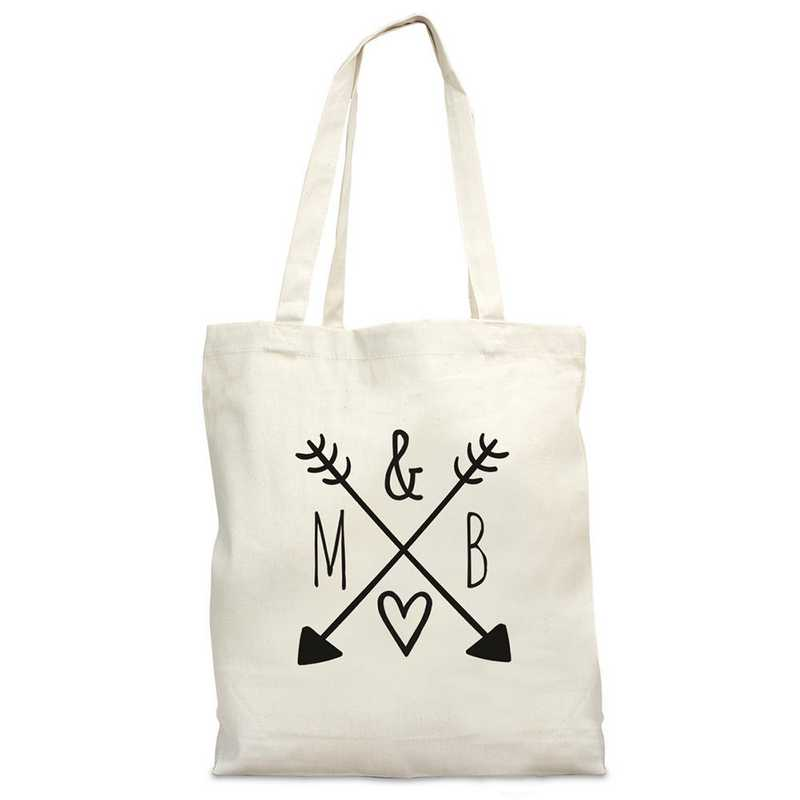 bc1ee38b7 Arrows & Initials Natural Canvas Tote Bag