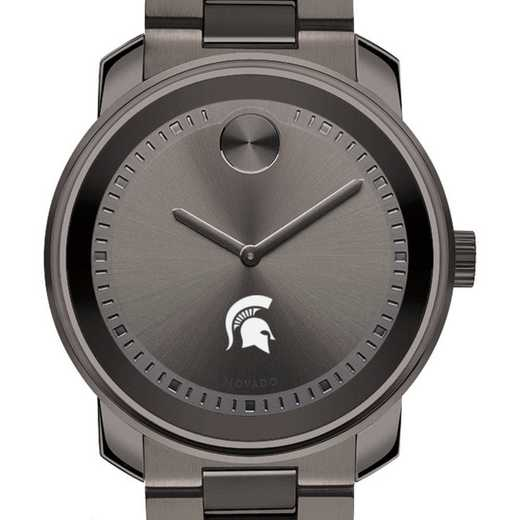 615789780397: Michigan State Univ Men's Movado BOLD gnmtl gry