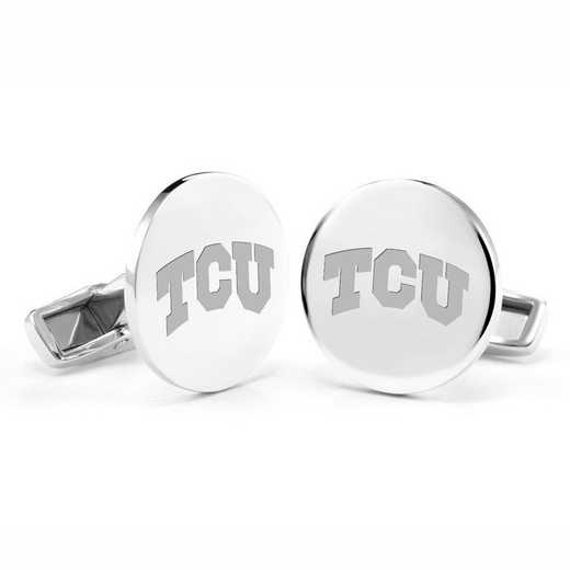 615789910763: Texas Christian University Cufflinks in Sterling Silver