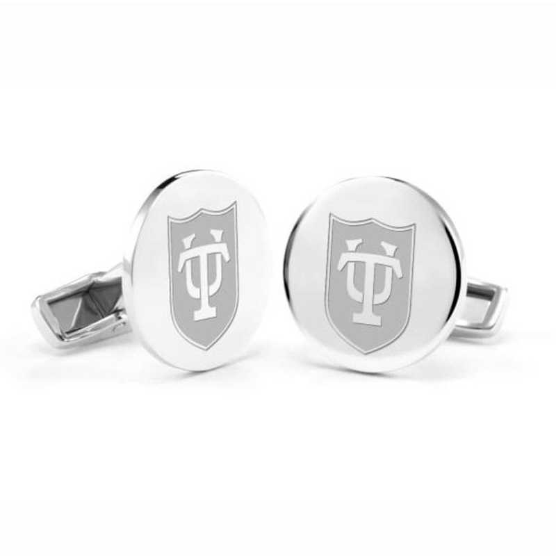 615789401254: Tulane University Cufflinks in Sterling Silver