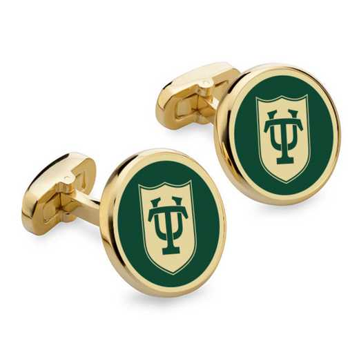 615789797470: Tulane University Enamel Cufflinks by M.LaHart & Co.