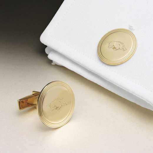 615789866633: Univ of Arkansas 18K Gld Cufflinks by M.LaHart & Co.