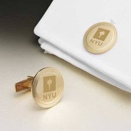 615789383864: NYU 18K Gld Cufflinks by M.LaHart & Co.