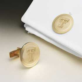 615789420156: Texas Tech 18K Gld Cufflinks by M.LaHart & Co.