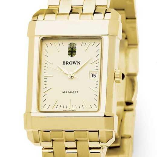 615789290643: Brown Men's Gold Quad Watch with Bracelet