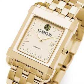 615789454427: Clemson Men's Gold Quad Watch with Bracelet
