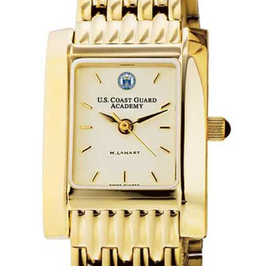 615789360384: USCGA Women's Gold Quad Watch with Bracelet