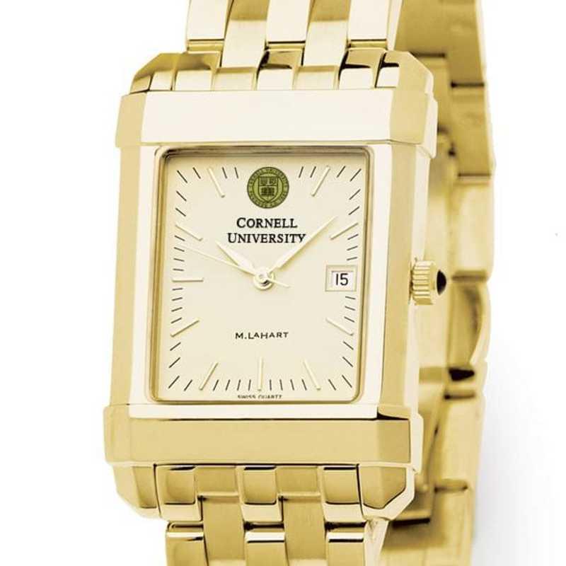 615789411642: Cornell Men's Gold Quad Watch with Bracelet