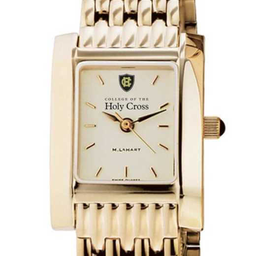 615789671527: Holy Cross Women's Gold Quad Watch with Bracelet