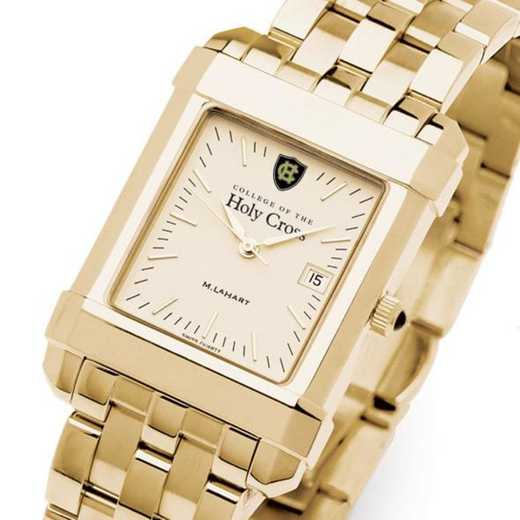 615789675051: Holy Cross Men's Gold Quad Watch with Bracelet