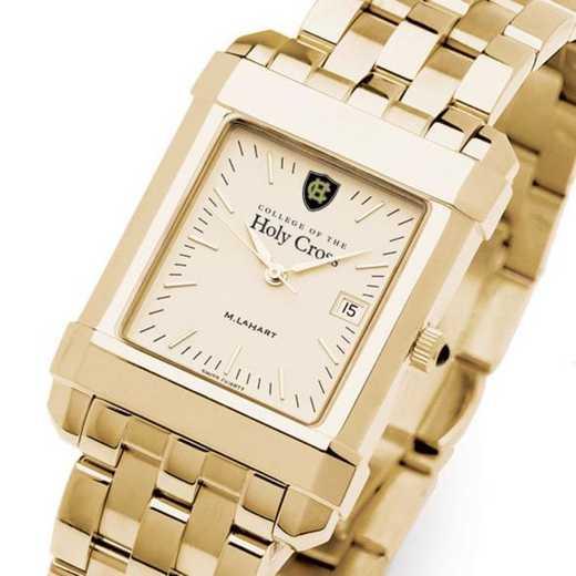 615789675051: Holy Cross Men's Gold Quad Watch with Bracelet