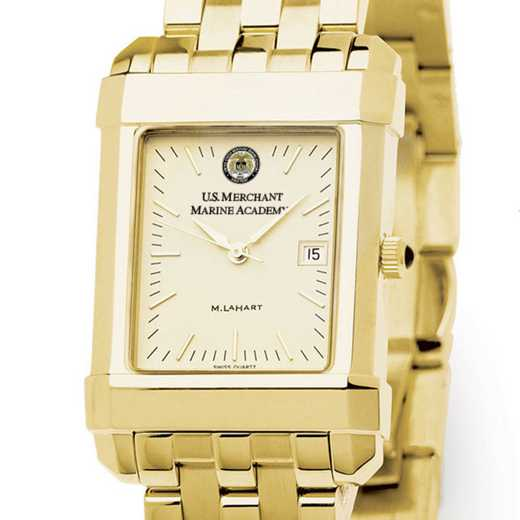 615789682912: USMMA Men's Gold Quad Watch with Bracelet