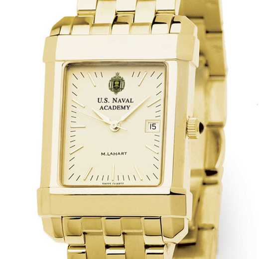 615789695752: USNA Men's Gold Quad Watch with Bracelet